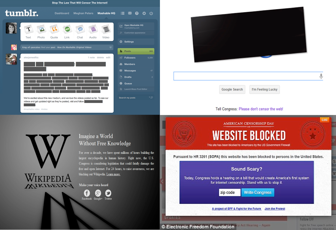screenshots of sites during SOPA protests